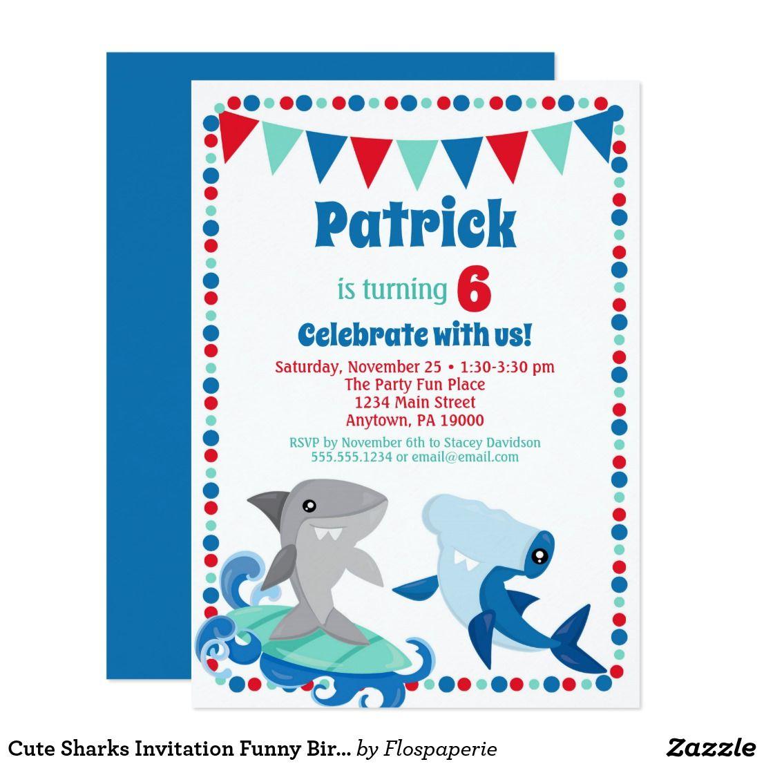 Cute Sharks Invitation Funny Birthday Party | Kids 2-12 Birthday ...