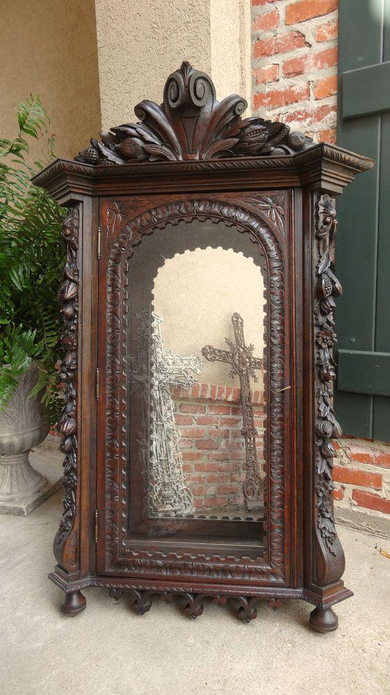 Antique Carved Oak Black Forest Wall Display Cabinet