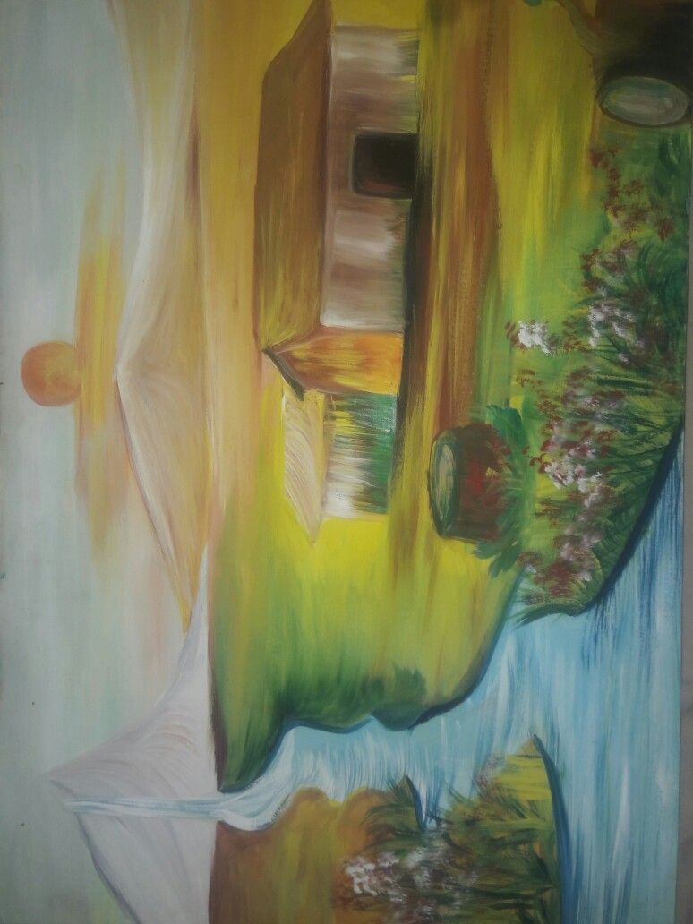 landscape painting with poster colour