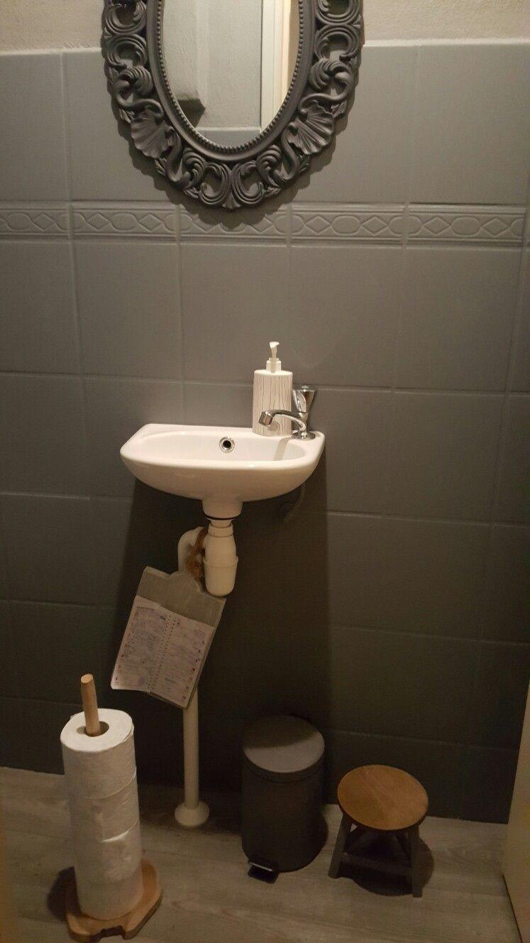 Toilet opgeknapt met betonverf van de Action, gelijk toiletrolhouder ...
