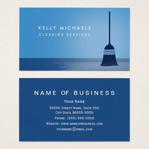 Modern Blue Broom Elegant Cleaning Services Business Card Services Business Cleaning Service Cleaning Service Names