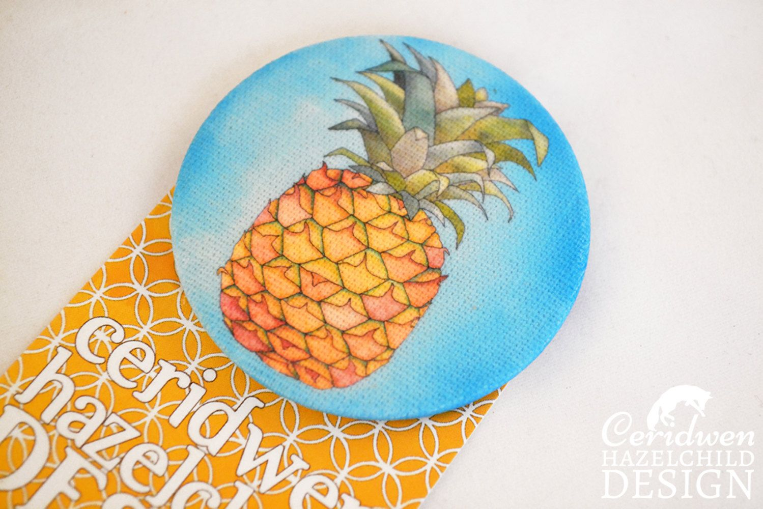 #Pineapple Fabric Badge Large Badge Pin Badge Fabric Covered Button Mothers Day Gift Ceridwen Hazelchild Design