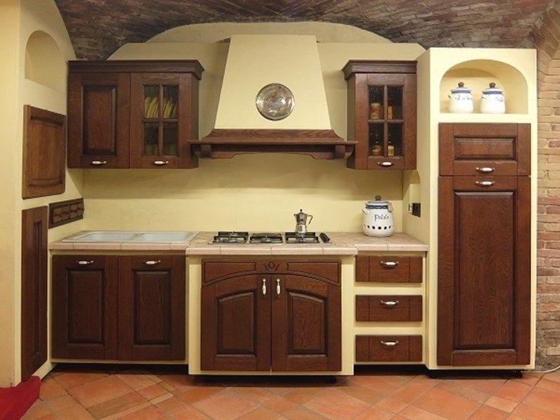Cucina Lineare In Muratura Paesana Ar Tre A Prezzo Scontato Cucina In Legno Design Rustico Da Cucina Interni Della Cucina