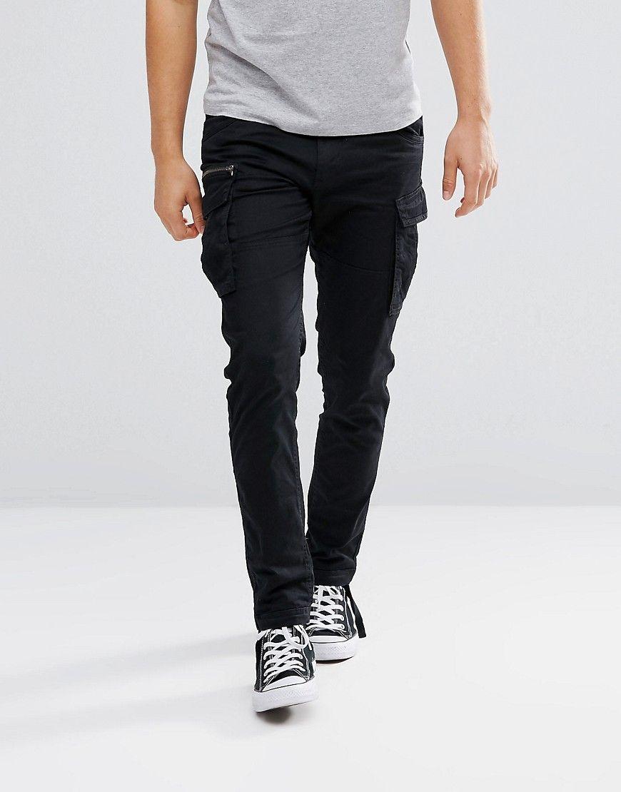 0f9dfb1fcaf5 Jack   Jones Intelligence Cargo Pant With Drawstring Leg - Black Cargo Pants  Men