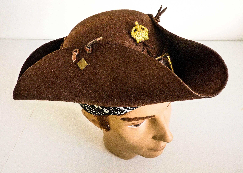Adjustable Size Hat Large Pirate Hat Tricorn Hat Jack Etsy Pirate Hats Brown Leather Belt Hats