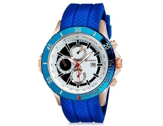 Luxury Mens Round Dial Analog New Sport Watch Stainless Silicone Strap Blue #LuxuryDressStyles
