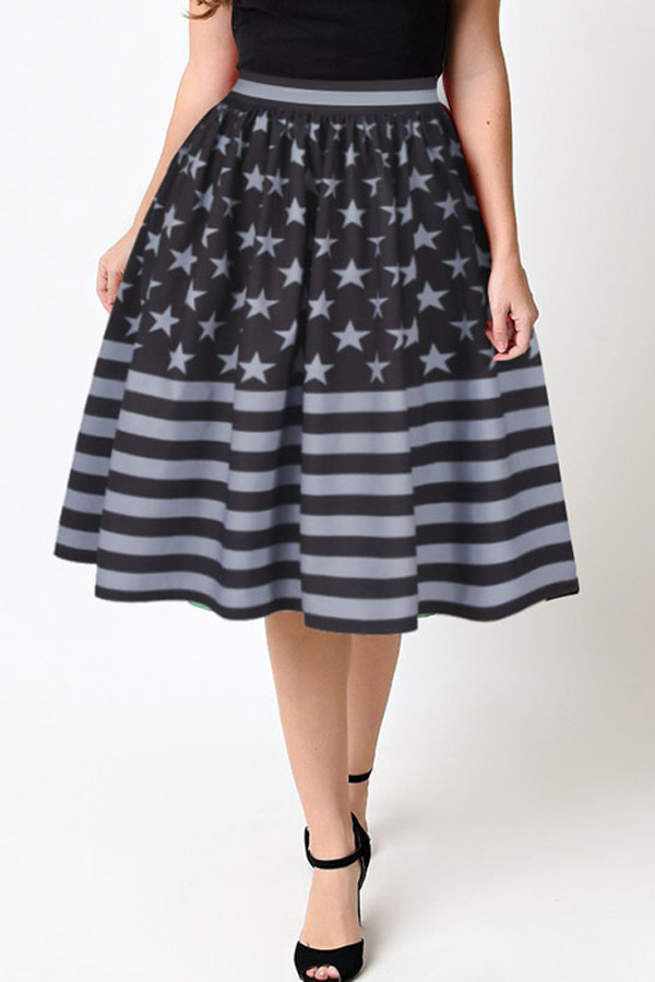e3fd23f74b755b Women Black American Flag Printed Pleated Midi A Line Bubble Skirt - M