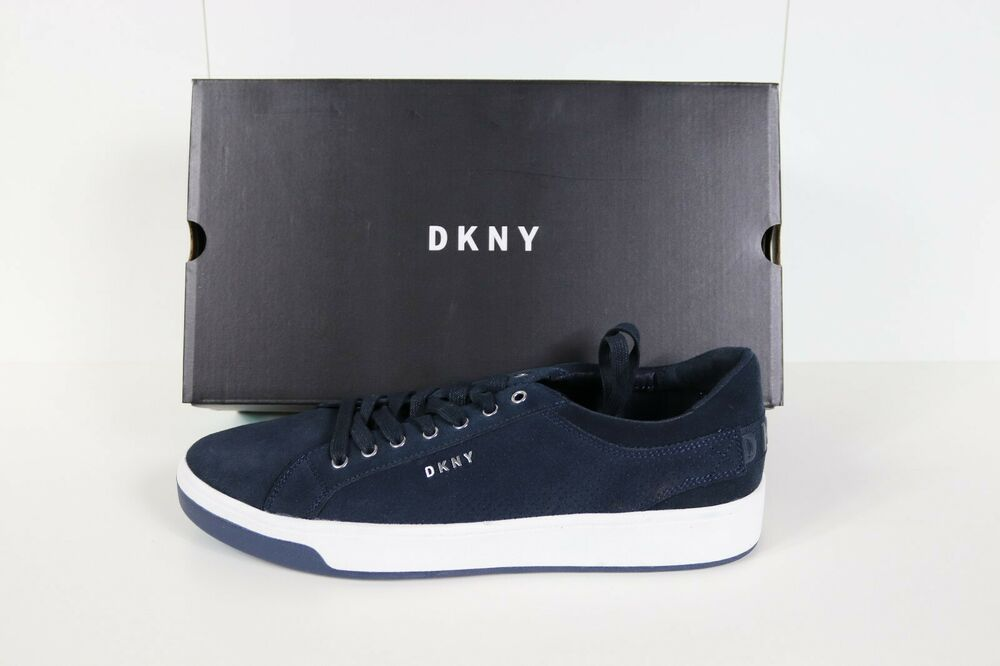 Black leather trainers, Dkny mens