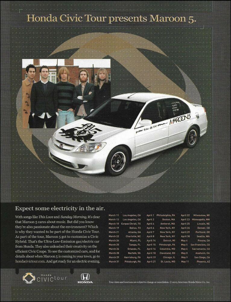 Maroon 5 Adam Levine Custom Honda Civic Car 2005 Tour Ad 8 X 11 Advertisement In 2020 Civic Car Honda Civic Car Honda Civic