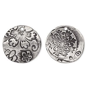 """Drop, TierraCast, """"Vida Mas Dulce"""" collection, antiqued pewter (tin-based alloy), 22x21.5mm two-sided uneven round with flora design. Sold per pkg of"""