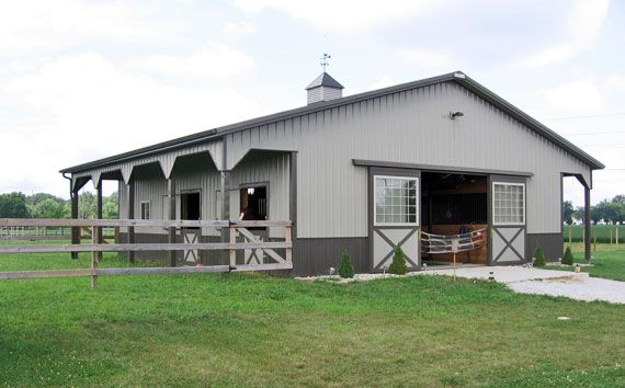 36x48 4 Stall Barn with Run-Outs, Custom 12 x 12 Amish Built