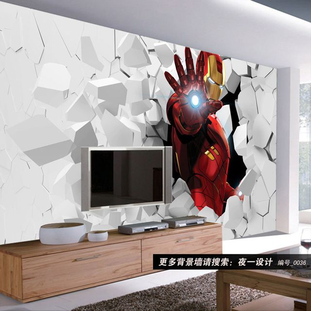 3d iron man photo wallpaper custom wall murals amazing for Mural art designs for bedroom