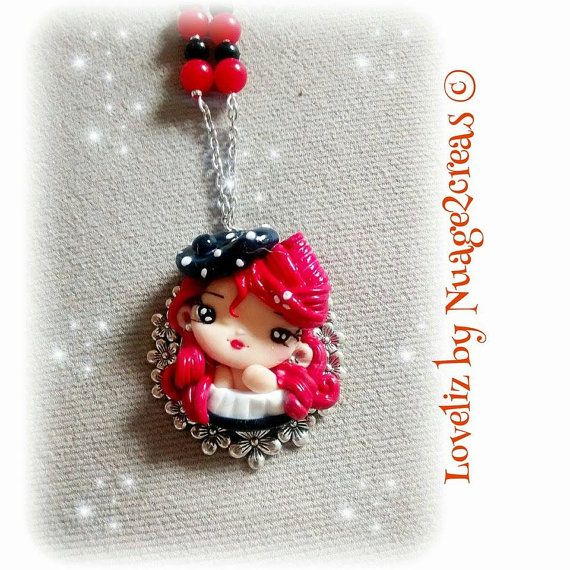 Fimo doll necklace polymer clay doll necklace cameo by Nuage2Creas