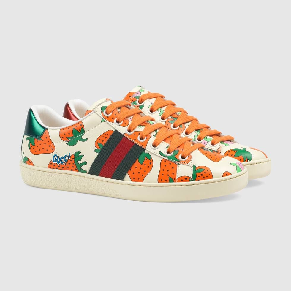 Shop the Ace leather sneaker with Gucci