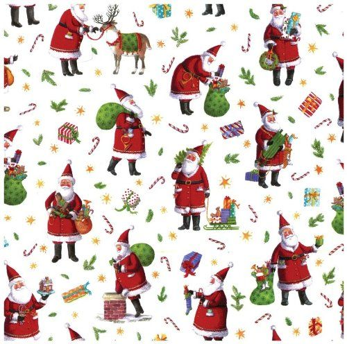 Caspari Busy Santa Continuous Gift Wrapping Paper Roll 8 Feet Caspari Http W Vintage Christmas Wrapping Paper Christmas Gift Wrapping Paper Christmas Prints