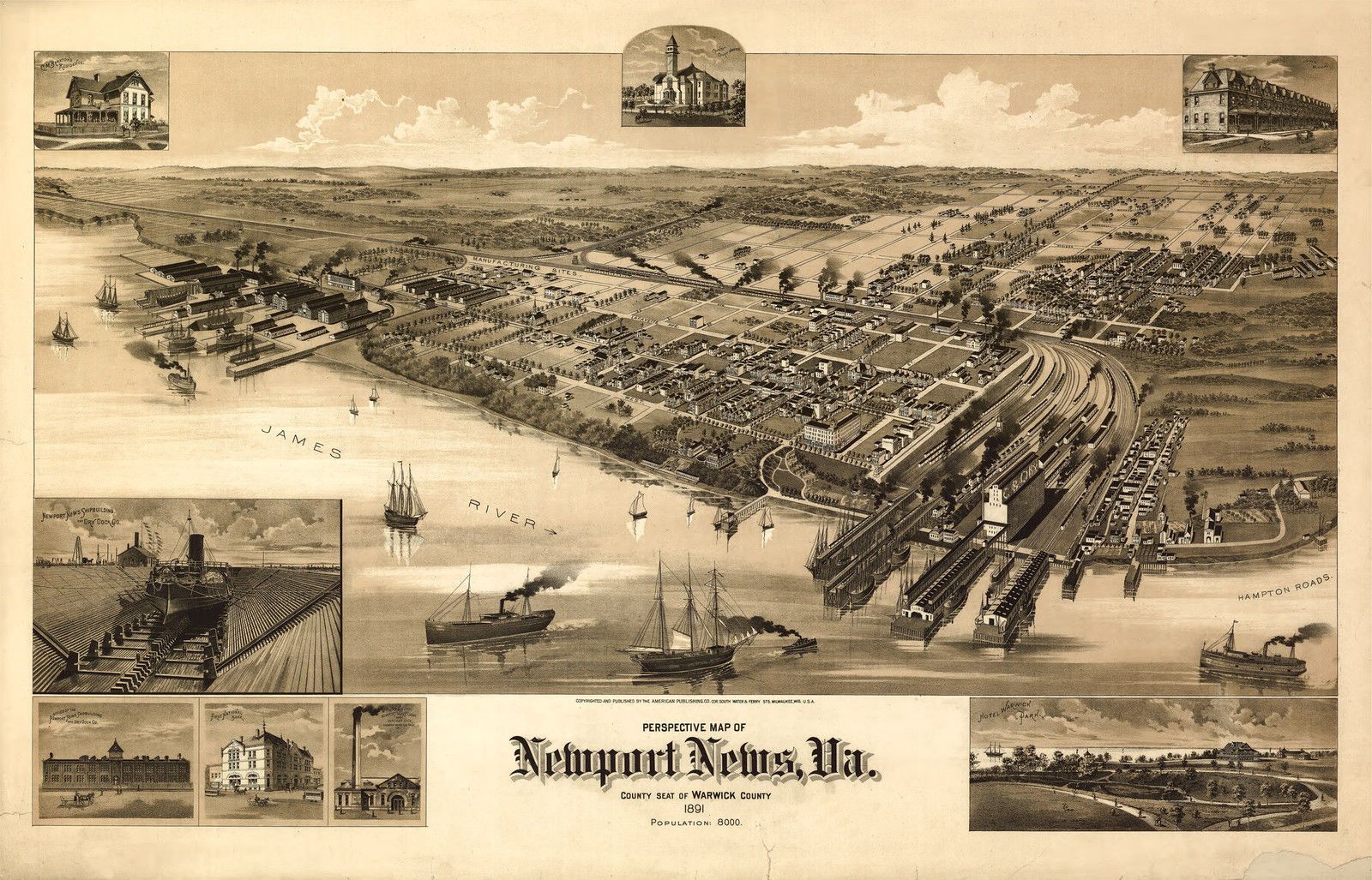 historic newport news va An 1891 perspective map of downtown