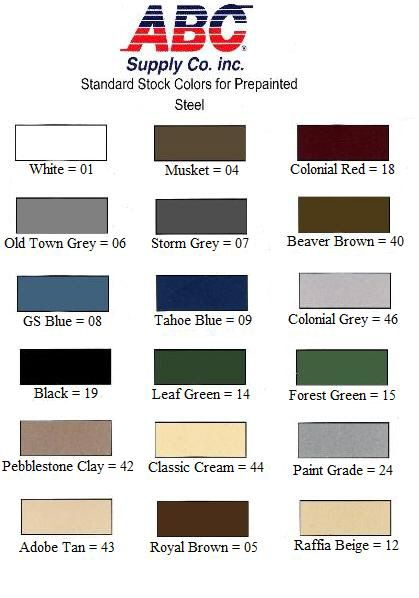 Abc Rain Gutter Color Chart Scr Gutter Colors Color Grey