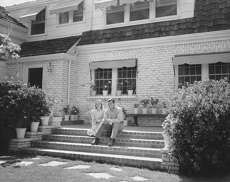 carole lombard and clark gable outside their home, 1939 | the