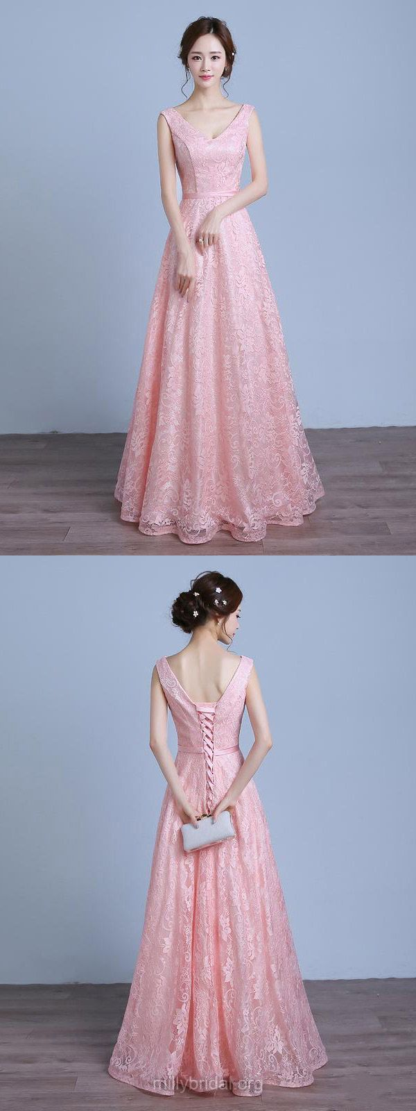Long Prom Dresses Pink, Lace Prom Dresses For Teens Cheap, A-line ...