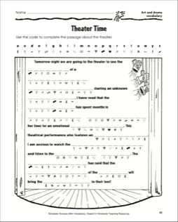Theater Time Activity Page Art And Drama Vocabulary Drama
