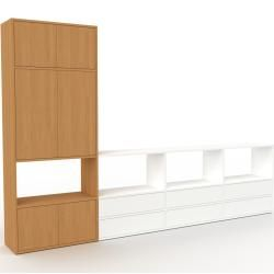 Photo of Wohnwand Weiß – Individuelle Designer-Regalwand: Schubladen in Weiß & Türen in Eiche – Hochwertige M
