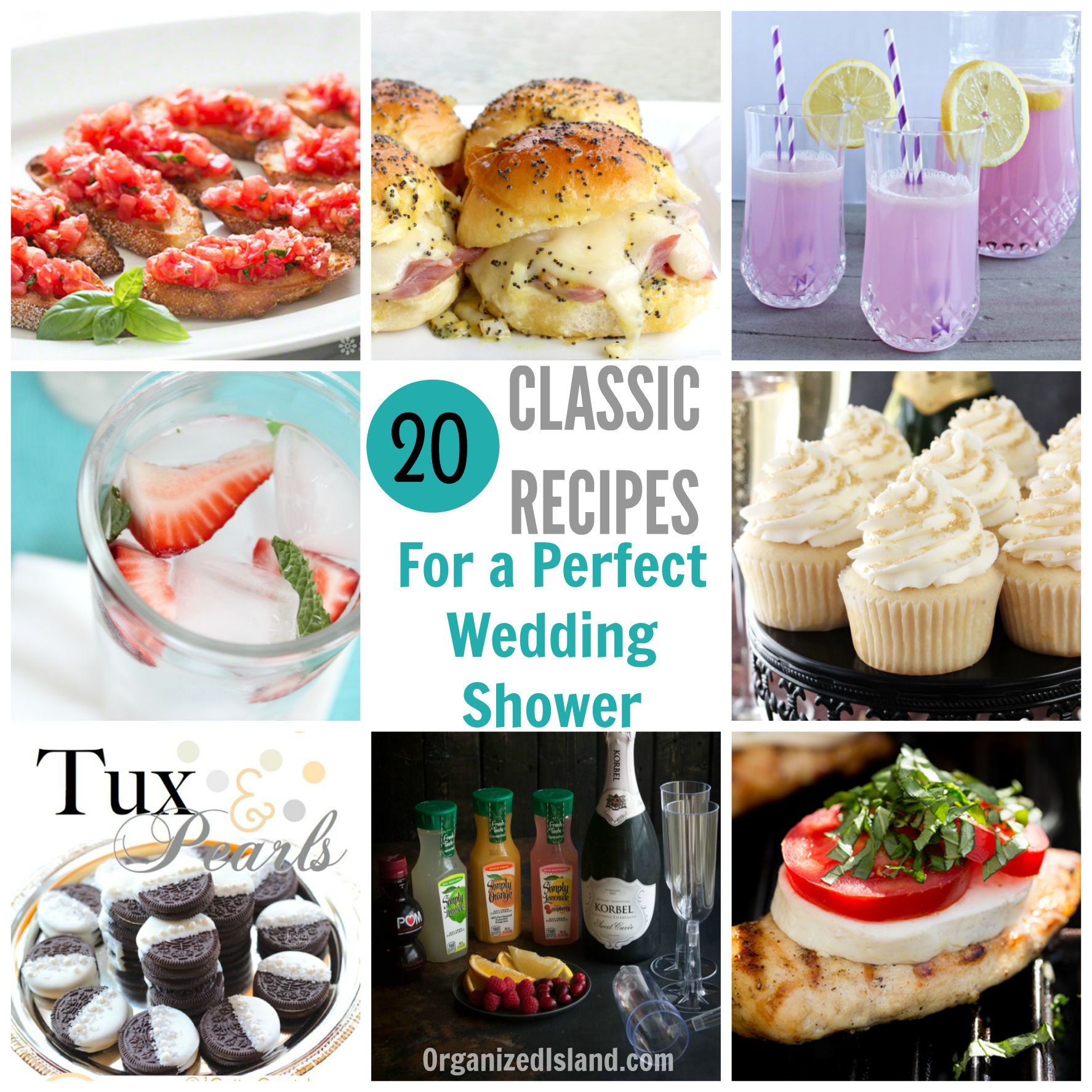 a list of bridal shower food ideas that include easy and tasty appetizers entrees