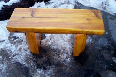 Half Log Slab And Leg Ceder Bench Of Coffee Table All