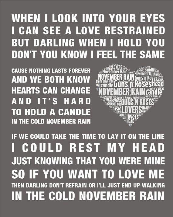 Guns N Roses Music Song Lyrics November Rain Word By A1heartnhome