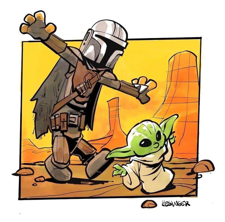 Art By Brian Kesinger Baby Yoda And Mando Calvinandhobbes Star Wars Humor Star Wars Memes Calvin And Hobbes