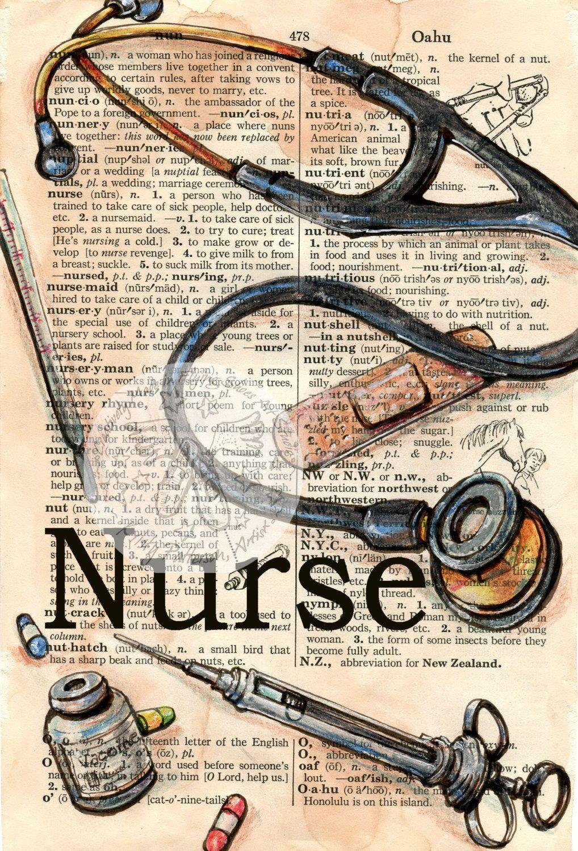 PRINT: Nurse Mixed Media Drawing on Distressed, Dictionary Page #framesandborders