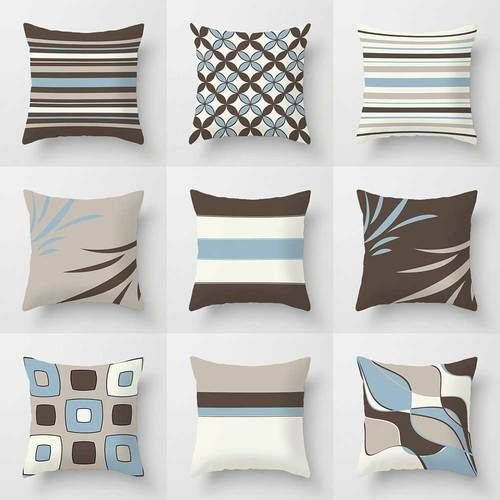 Strange Blue Brown Decorative Pillow Covers Geometric Pillows For Gmtry Best Dining Table And Chair Ideas Images Gmtryco