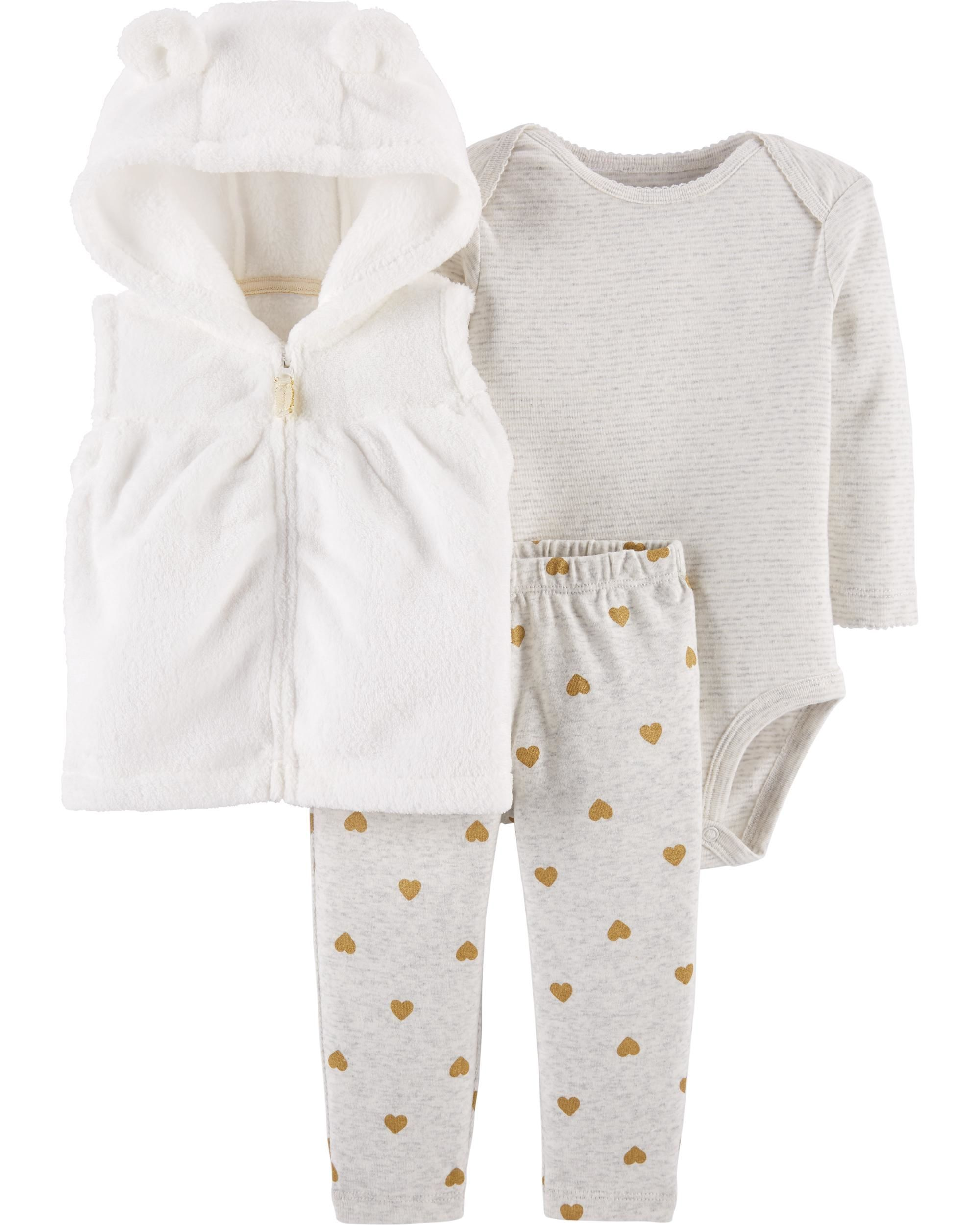 47d9a8bb9 Three essential pieces in one pack, this set features a collectible  bodysuit, coordinating cotton pants and a cute and fuzzy vest to make  layering easy!