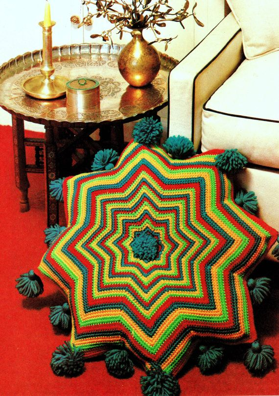 INSTANT DOWNLOAD PDF Vintage Crochet Pattern Moroccan Kasbah Pillow Floor Cushion with Tassels   Retro