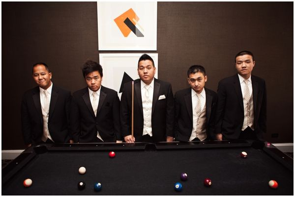 Groomsmen at pool table modern wedding Charlotte North Carolina wedding photos by Revival Photography Featured on In Love in The City www.revivalphotography.com