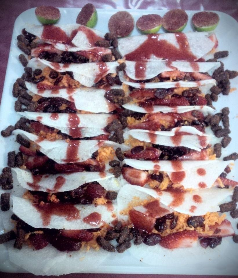 Tacos De Jicama Con Tamarindo, Zanahoria, Fresa,arándanos