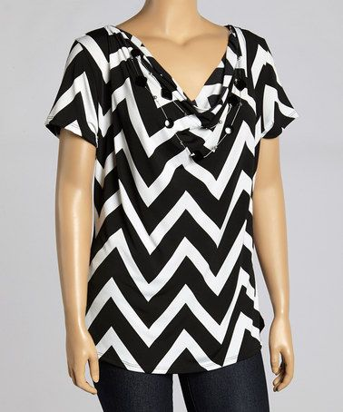 Another great find on #zulily! Cream & Black Zigzag Drape Top & Necklace - Plus #zulilyfinds