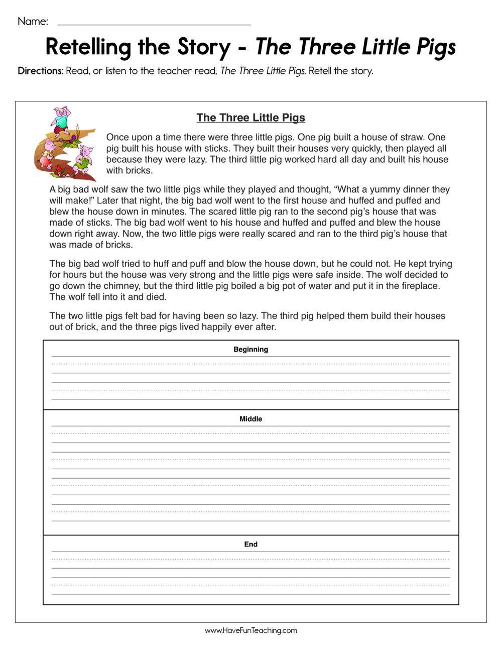 Retell Worksheet First Grade Retelling The Story The Three Little Pigs Worksheet In 2020 Story Sequencing Worksheets Sequencing Worksheets Summarizing Worksheet [ 1294 x 1000 Pixel ]