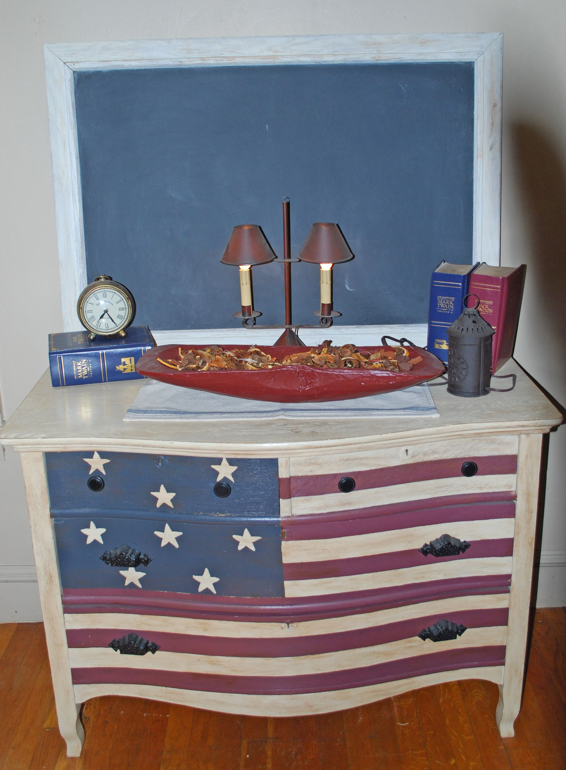 The American Flag Dresser That I Painted.