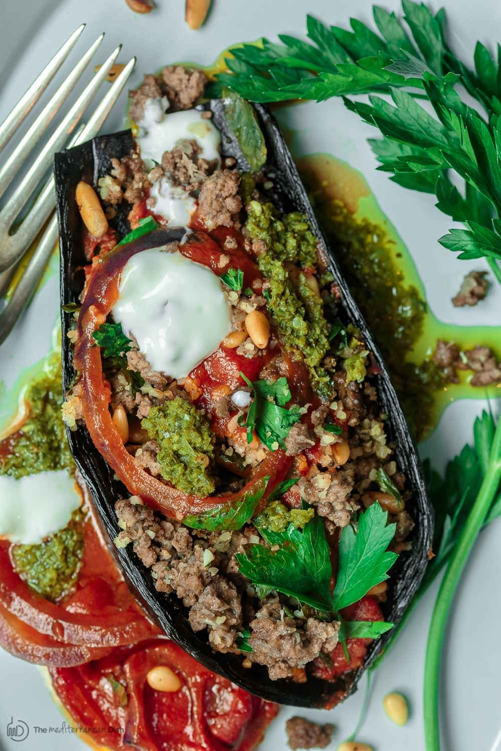 Mediterranean Stuffed Eggplant Recipe The Mediterranean Dish This Is A Must Try All Eggplant Recipes Roasted Eggplant Recipes Mediterranean Eggplant Recipe