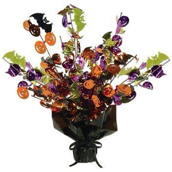 """Halloween Gleam 'N Burst Centerpiece Party Accessory (1 count) (1/Pkg) Rubie's Costume Co. $3.46. Package contains one (1) foil centerpiece. Measures approximately 15"""" tall. It has orange and purple pumpkins along with black and gold bats. Can be also be used as a balloon weight."""