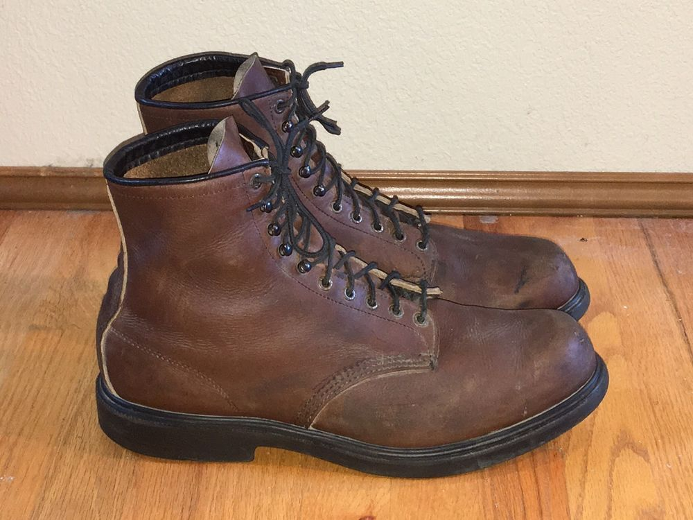 Red wing 953 full grain brown boomer leather lace-up u.s.a. work ...