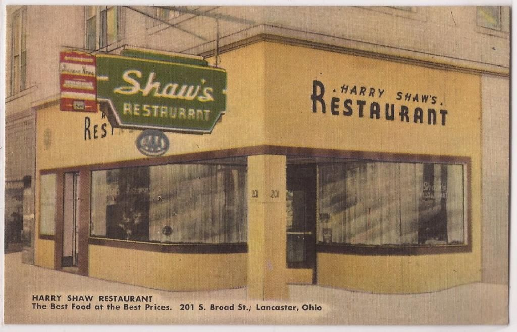 1940s Lancaster Ohio Linen Postcard Harry Shaw Restaurant