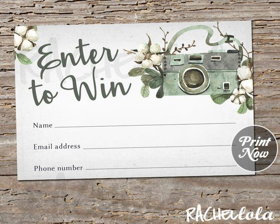 Printable Photography Raffle Ticket Door Prize Entry