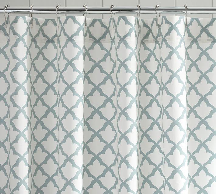 Marlo Shower Curtain, Dark Porcelain Blue
