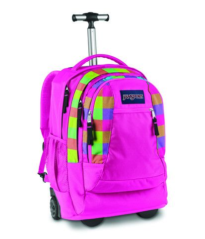 04a7c12bdf5c4 Jansport Driver 8 Wheeled Backpack Fluorescent Block Check