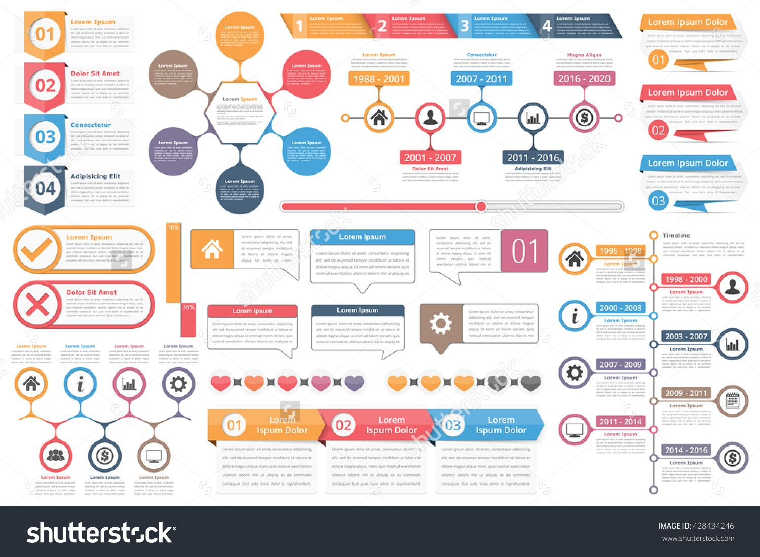 Infographic elements objects with numbers amd text timeline infographic elements objects with numbers amd text timeline infographics check and cross symbols circle diagramcross ccuart Image collections
