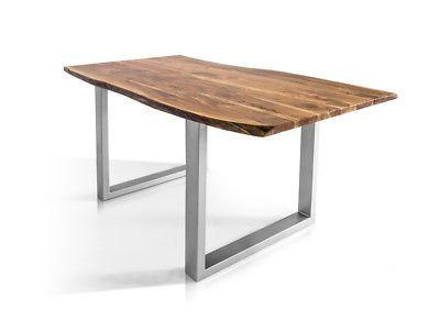 Details zu Massivholz Tisch mit Baumkante Esstisch Athen Akazie