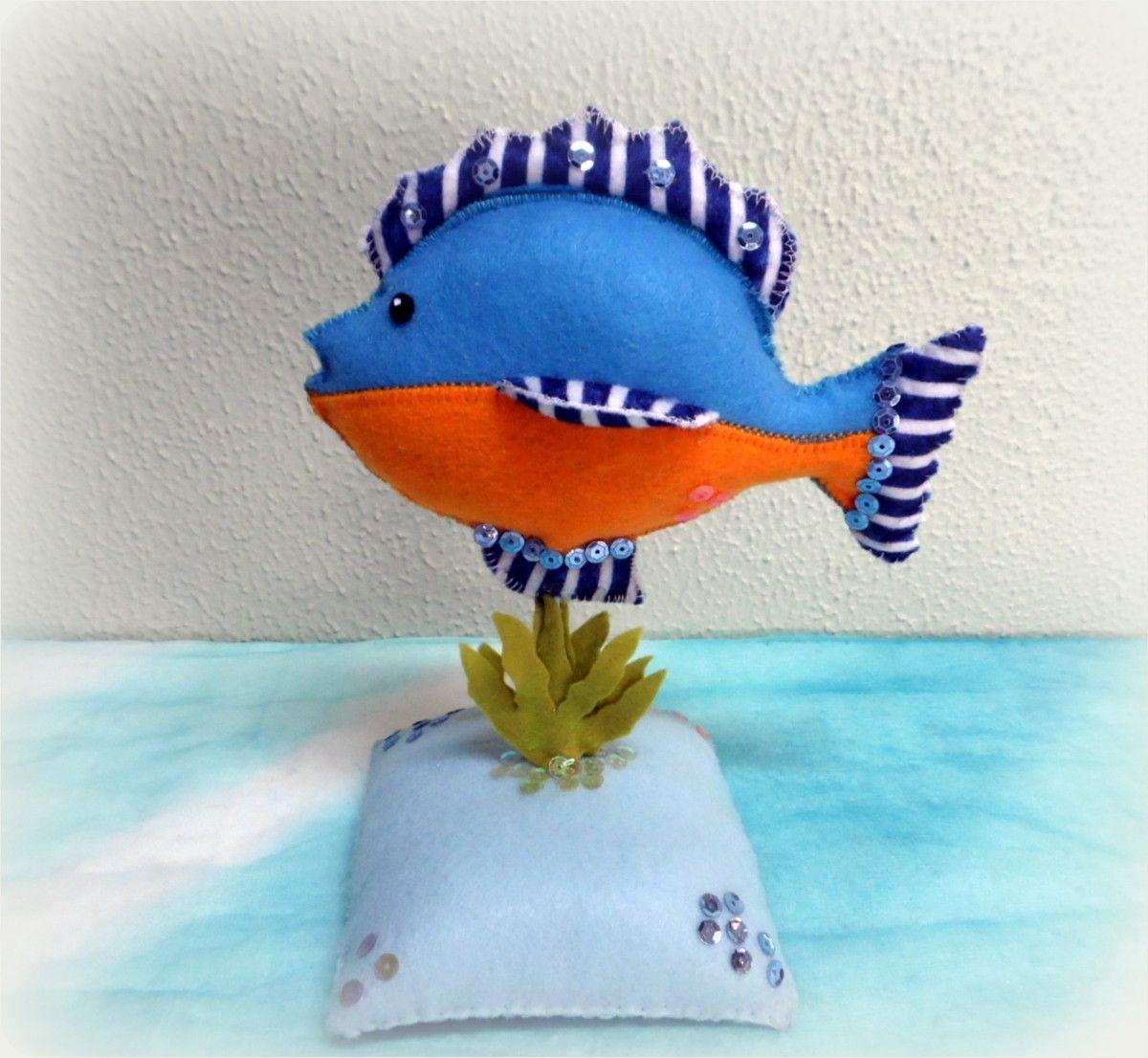 Peixe Azul De Feltro