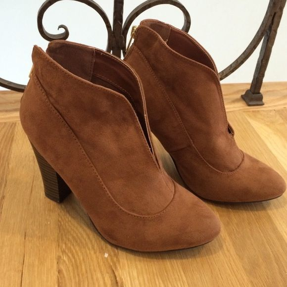 Camel suede ankle boots New!!! Never worn. Back zip. Great boot Qupid Shoes Ankle Boots & Booties
