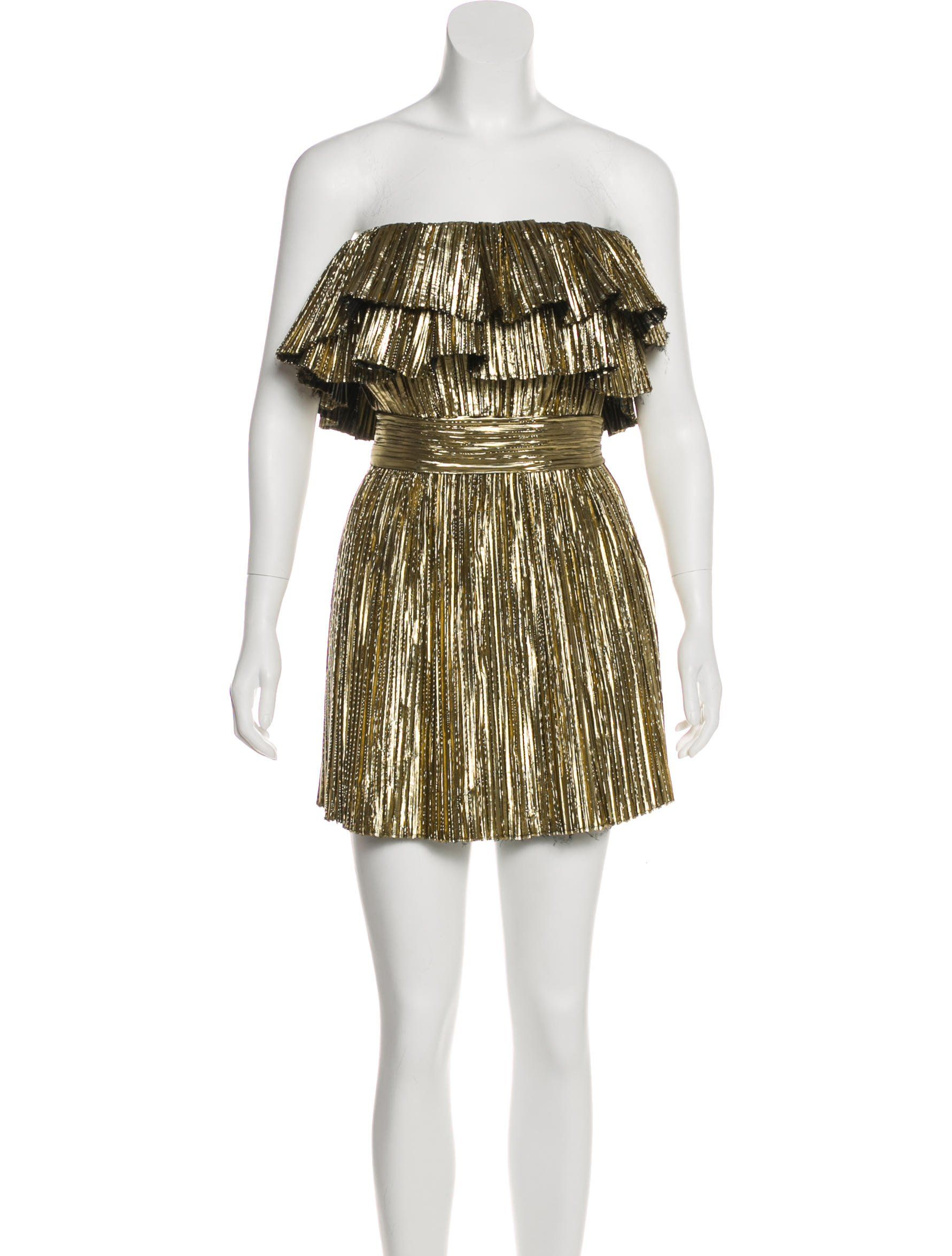 9daefd4c4a Gold Saint Laurent pleated metallic lamé strapless mini dress with tiered ruffle  trim at neckline